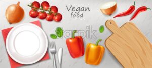 Vegetarian dinner table Vector realistic. White plate healthy food template - starpik