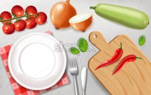 Vegetarian dish preparation Vector realistic. White plate healthy food template - starpik