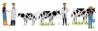 Vet doctor and cows Vector. Medicine poster project layout template - starpik