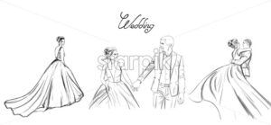 Wedding couple Vector line art set. Bride silhouette vintage style. Beautiful long dress . Template for design card - starpik