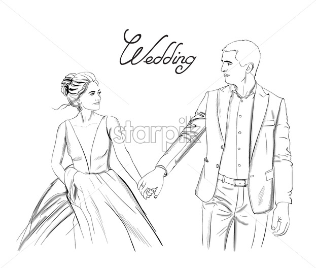 Wedding couple Vector line art. Lovely couple holding hands. Bride and groom silhouette vintage style. Beautiful long dress . Template for design card - starpik