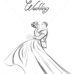 Wedding couple Vector line art. Lovely couple hugs. Bride and groom silhouette vintage style. Beautiful long dress . Template for design card - starpik
