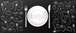 White plate Vector realistic. Menu template banner dinner. Dark background - starpik