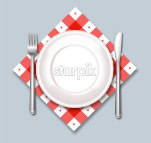 White plate vector realistic. Dinner ready concept template - starpik