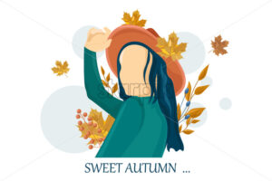 Woman autumn Vector flat style characters set. Beauty lifestyle portrait illustration - starpik