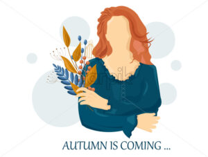 Woman autumn Vector flat style characters set. Beauty lifestyle portraits illustration - starpik
