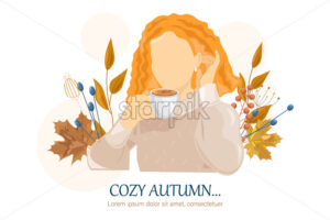 Woman dinking coffee autumn Vector flat style character. Beauty lifestyle portrait illustration - starpik