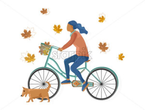 Woman on bicycle Vector flat style. Fall season lifestyle cycling in park - starpik