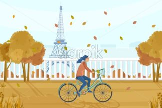Woman on bicycle in Paris autumn Vector. Fall season lifestyle cycling in park. Eiffel Tower on background - starpik