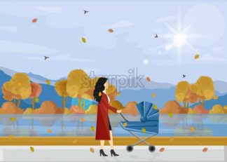 Woman with a baby in the park autumn walk Vector. Fall season parenting activities lifestyle poster - starpik