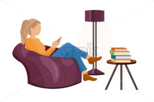 Woman with a smartphone on the sofa Vector flat style. Texting messages or playing games. Leisure lifestyle - starpik