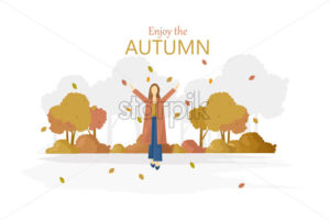 Woman with umbrella rainy autumn season Vector. Fall lifestyle poster - starpik