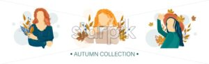 Women autumn Vector flat style characters set. Beauty lifestyle portraits illustration - starpik