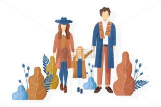 Young family walking in the park autumn Vector. Fall season lifestyle couple and a child. Stylish clothes trendy pastel colors - starpik