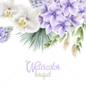 Watercolor Hyacinth and white orchid flowers bouquet vector. Wedding gretting card background