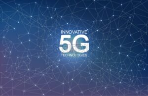 5G Innovative technologies abstract composition vector. Light sparkles and glitter - Starpik Stock