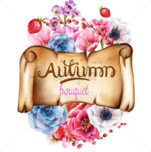 Autumn berries and flowers bouquet vector. Isolated background - Starpik Stock