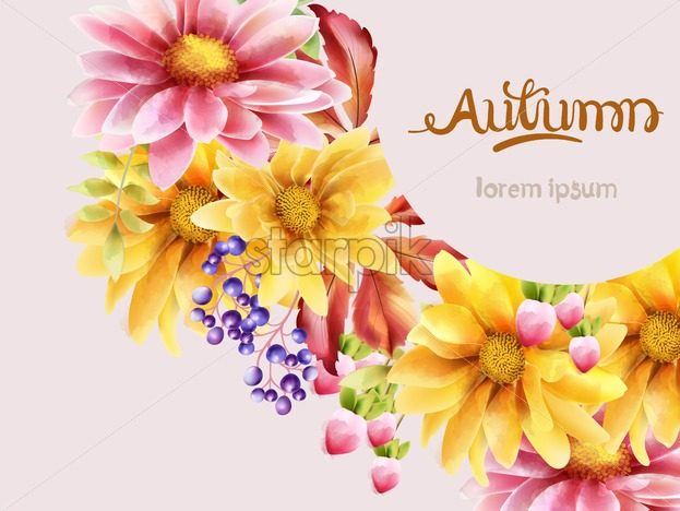 Autumn bouquet of flowers with daisy, sunflower, berries and leaves. Vector autumn composition - Starpik Stock