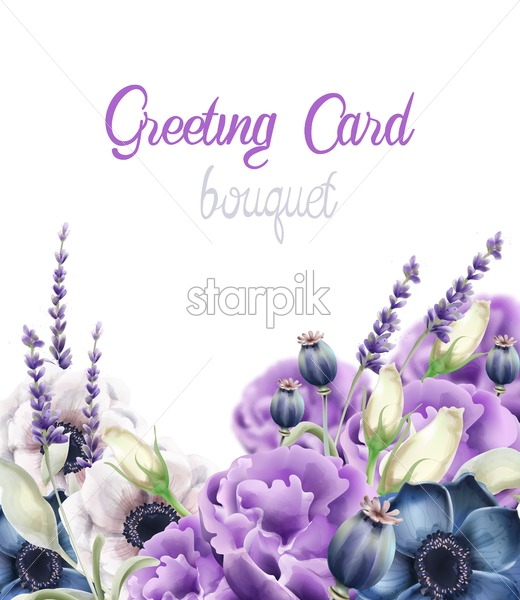 Autumn flowers greeting card vector watercolor. Isolated background. Provence flowers banner - Starpik Stock
