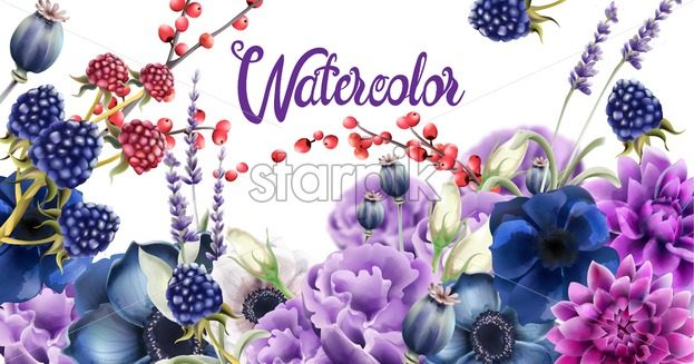 Autumn flowers vector watercolor. Isolated background. Provence flowers banner - Starpik Stock