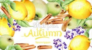 Autumn fruits and leaves vector card. Isolated background. Apple, cinnamon and leaves - Starpik Stock