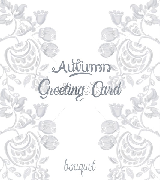 Autumn greeting card with rococo texture pattern Vector. Floral ornament decoration. Victorian engraved retro design. Vintage grunge fabric decors. Luxury fabrics - Starpik Stock