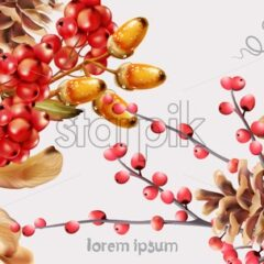 Autumn wild berries greeting card vector watercolor. Isolated background. Provence flowers banner - Starpik Stock