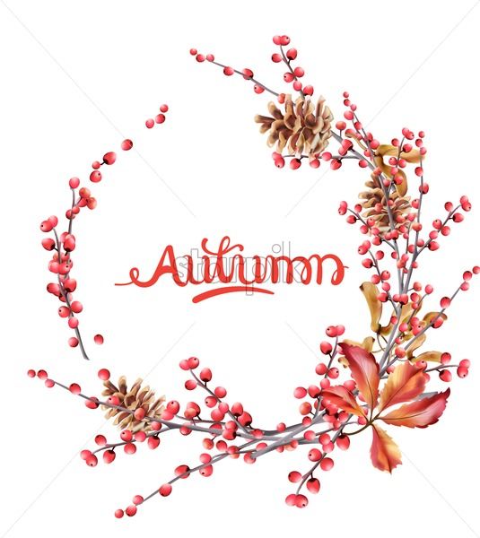 Autumn wild berries wreath greeting card vector watercolor. Isolated background. Provence flowers banner - Starpik Stock