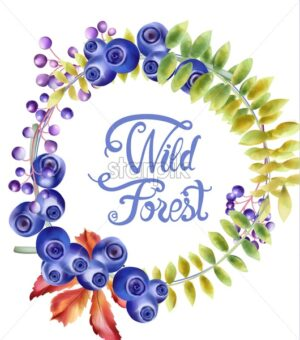 Autumn wild forest blueberries and flowers wreath bouquet vector - Starpik Stock