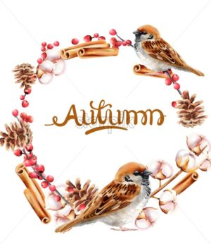 Autumn wreath with pinecone, cinnamon and bird vector. Isolated background - Starpik Stock