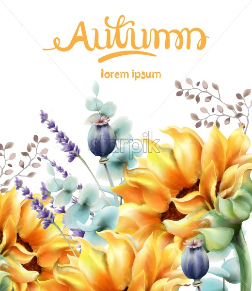 Autumn yellow flowers bouquet card vector watercolor. Isolated background. Provence flowers banner - Starpik Stock