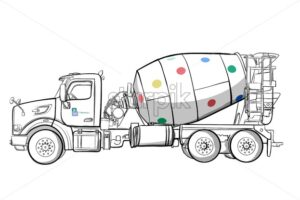 Black and white mixer truck - Starpik Stock