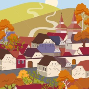 Cartoon flat old town with colorful scenery. Autumn season fields and houses. Vector - Starpik Stock