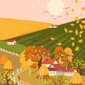 Cartoon flat village with colorful scenery. Autumn season fields and houses. Haystacks and birds flying. Vector - Starpik Stock