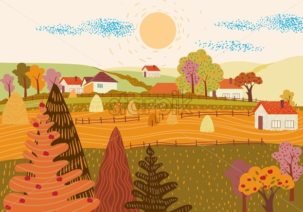Cartoon flat village with colorful scenery. Autumn season fields and houses. Haystacks. Vector - Starpik Stock