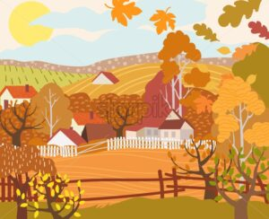 Cartoon flat village with colorful scenery. Autumn season fields and houses. Vector - Starpik Stock