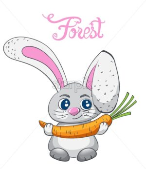 Cartoon rabbit smiling with carrot vector. Forest animals idea - Starpik Stock