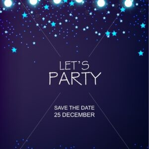 Christmas party invitation with blue stars and magic background. Fairy lights. Vector - Starpik Stock