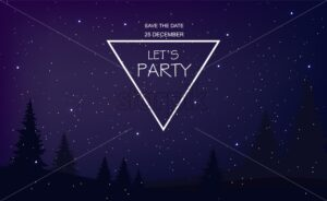 Christmas party invitation with blue stars and magic background. Magic dark forest on foreground. Fairy lights. Vector - Starpik Stock