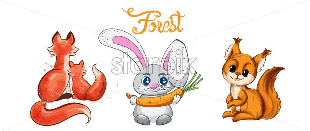 Collage of Cartoon fox and rabbit smiling with carrot vector. Forest animals idea - Starpik Stock
