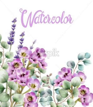 Colorful watercolor flowers greeting card vector. Bouquet - Starpik Stock