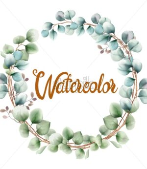 Colorful watercolor flowers wreath greeting card vector. Bouquet - Starpik Stock