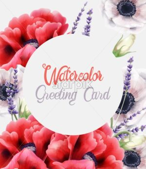 Colorful watercolor peonies and lavender flowers greeting card vector. Bouquet - Starpik Stock