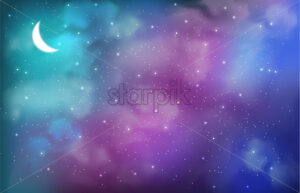 Cosmic background with abstract colors and half moon vector. Sky full of stars - Starpik Stock