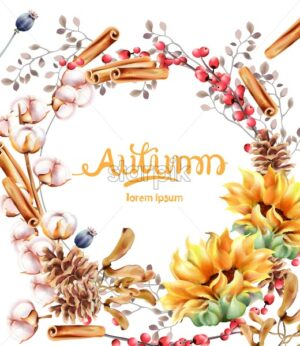 Cotton, cinnamon and berries autumn wreath bouquet card vector watercolor. Isolated background. Provence flowers banner - Starpik Stock