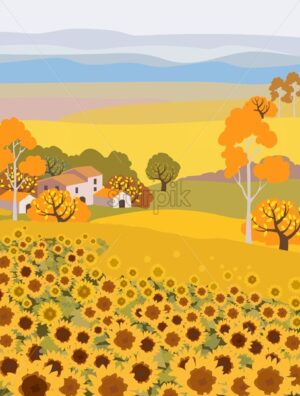 Countryside farm with sunflower growing. Village houses on background. Yellow sunset sky. Autumn season. Flat cartoon vector - Starpik Stock