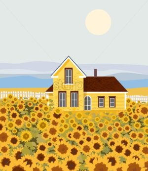 Countryside house with sunflower growing in front. Blue sky. Autumn season. Flat cartoon vector - Starpik Stock