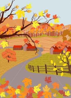 Countryside village in autumn season. Asphalted road. Flat cartoon vector - Starpik Stock