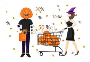 Couple dressed in halloween holiday outfit shopping with cart vector. Special offer sale. Flat style - Starpik Stock