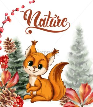 Cute little fox smiling vector. Wild berries, fig trees, autumn leaves. Forest animals idea - Starpik Stock